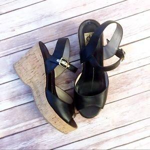 DV by Dolce Vita Black Wedge Cork Buckle Sandal
